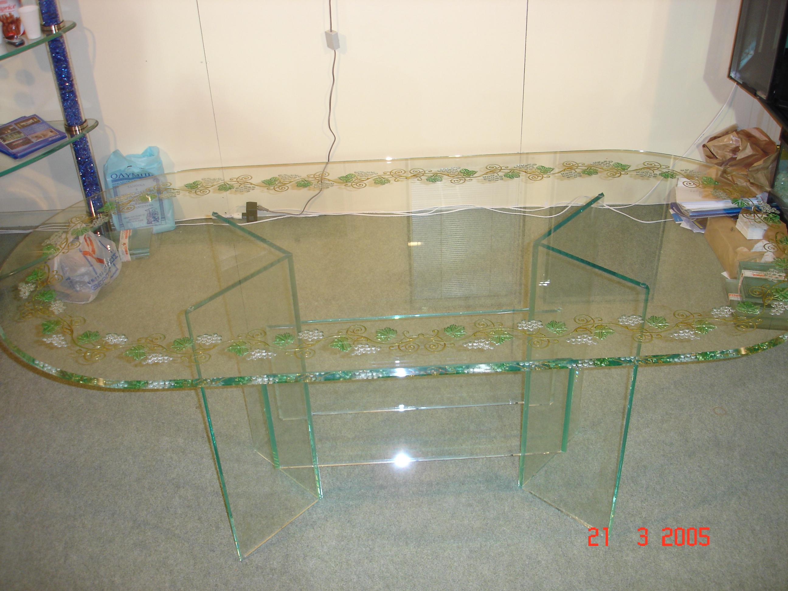 Κρυστάλλινο Τραπέζι με σκάλισμα