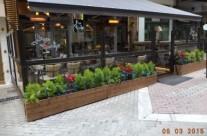 Sliding windbreak system Anemos – cafe bar Tapas